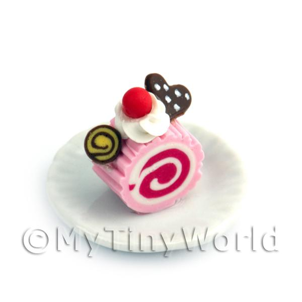 Dolls House Miniature  | Dolls House Miniature Slice Of Raspberry Roulade On A Plate (PR7)