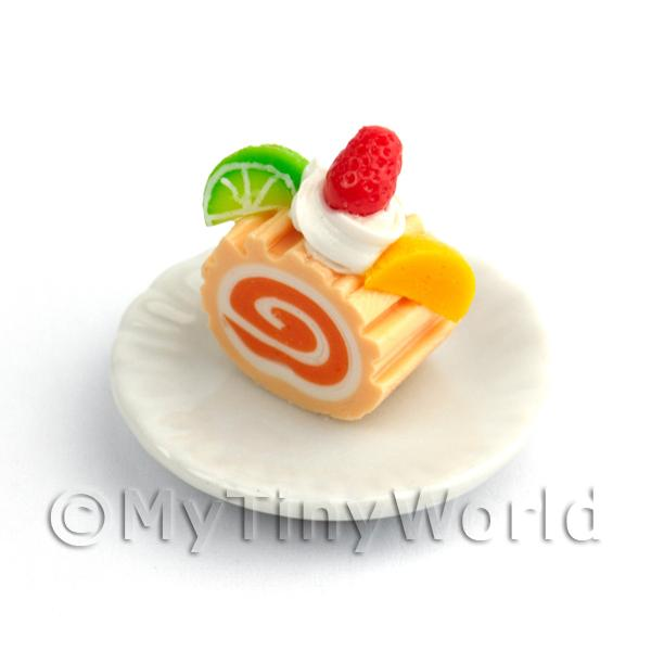 Dolls House Miniature Slice Of Orange Roulade On A Plate (PR9)