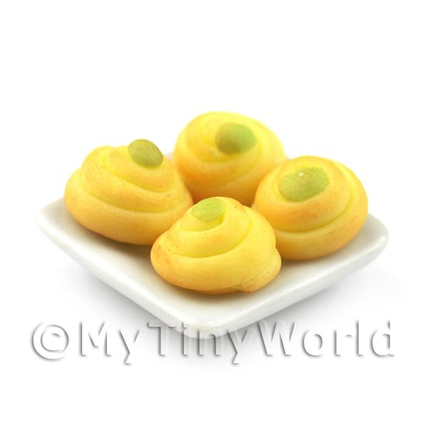 Dolls House Miniature  | Dolls House Miniature Green Iced Spiral Buns On A Square Plate