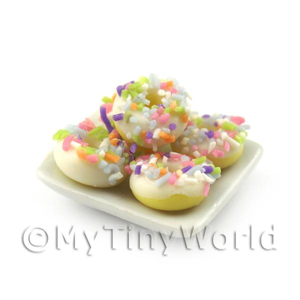 1/12 Scale Dolls House Miniatures  | Dolls House Miniature White Iced Donuts With Sprinkles