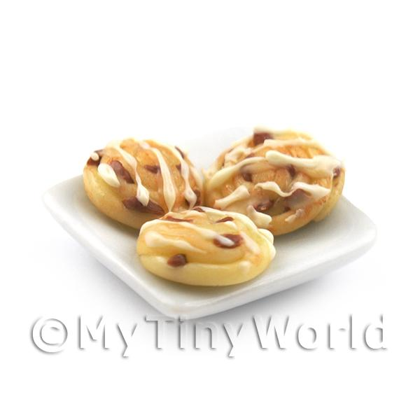 Dolls House Miniature  | 3 Dolls House Miniature Iced Danish Pastries On A Square Plate