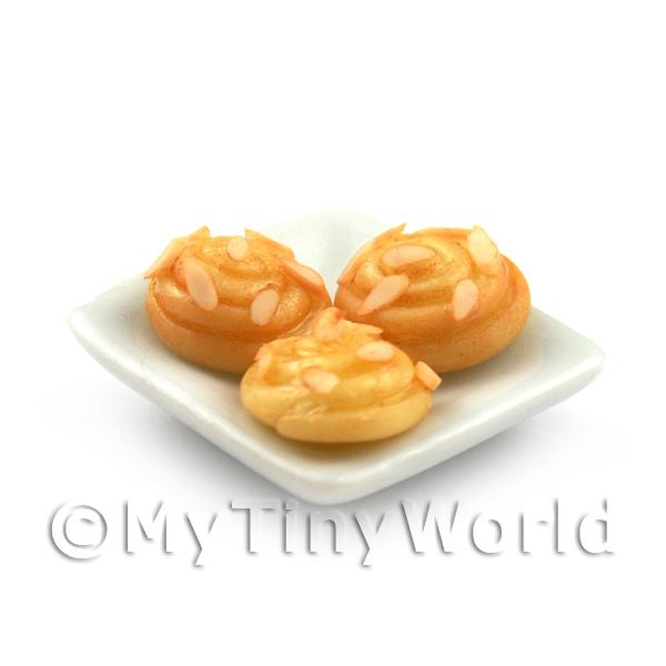 5x Dolls House Miniature Danish Pastry Topped With Chopped Almonds