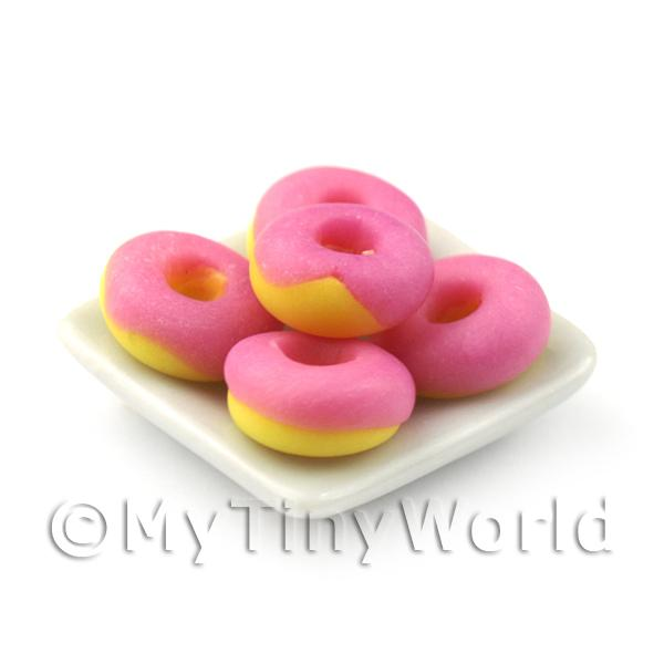 Dolls House Miniature  | Dolls House Miniature Pink Iced Donuts On A Square Plate