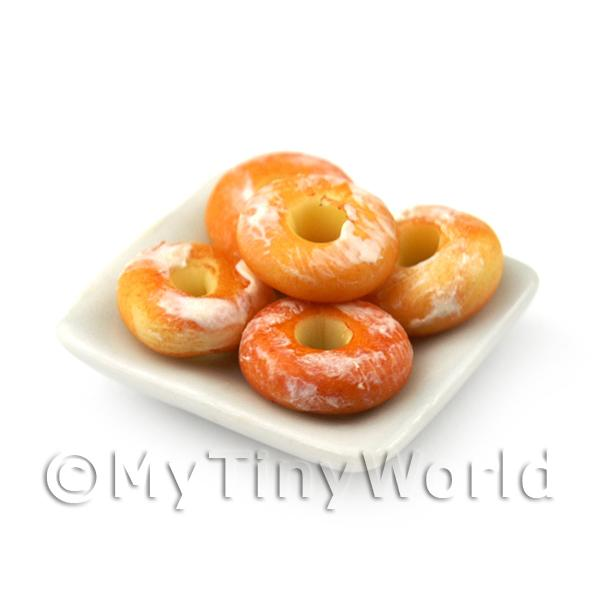 Dolls House Miniature  | Miniature White Glazed Ring Donuts On A Square Plate