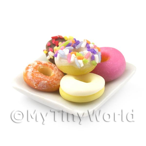 Dolls House Miniature  | 5 Dolls House Miniature Mixed Donuts On A Square Plate