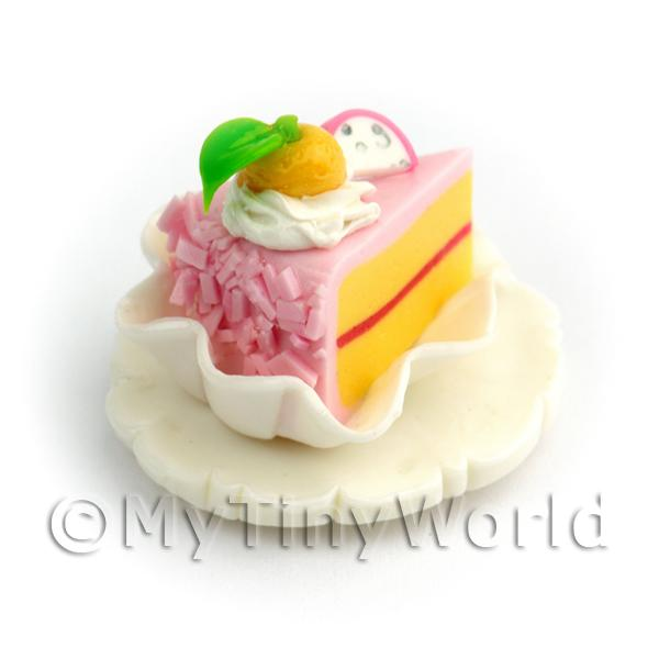 Dolls House Miniature Pink Iced  Individual Cake Slice On A Clay Plate