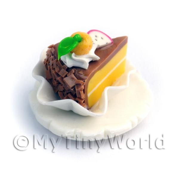 Dolls House Miniature Chocolate Iced Individual Cake Slice On A Clay Plate