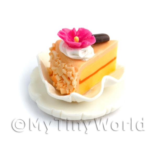 Dolls House Miniature Pale Orange Individual Cake Slice On A Clay Plate