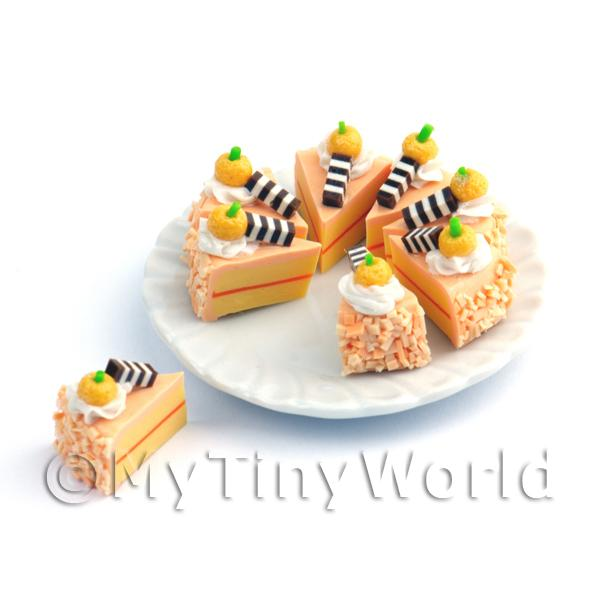 Dolls House Miniature Whole Sliced Peach Colour Cake