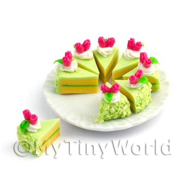Dolls House Whole Sliced Green Iced Cake