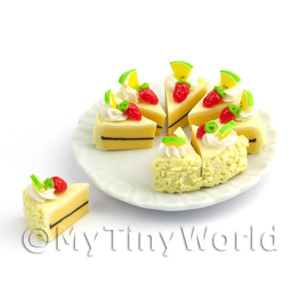 Dolls House Miniature Whole Sliced Vanilla  Cake
