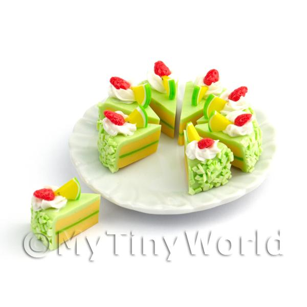 Dolls House Miniature Whole Sliced Green Iced Sponge Cake
