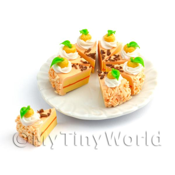 Dolls House Miniature Whole Sliced Peach Iced Lemon Cake