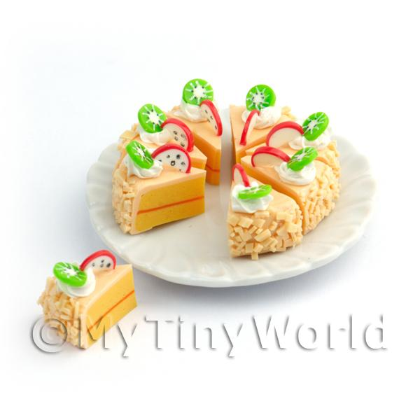 Dolls House Miniature Whole Sliced Dragon Fruit And Kiwi Cake