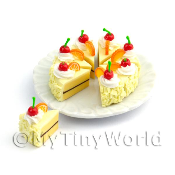 Dolls House Miniature Whole Sliced Cherry Vanilla Cake