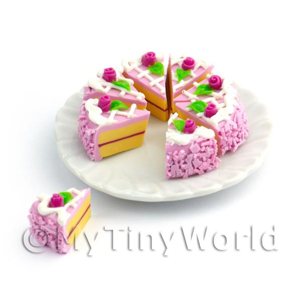 Miniature Whole Sliced Purple Rose Cake
