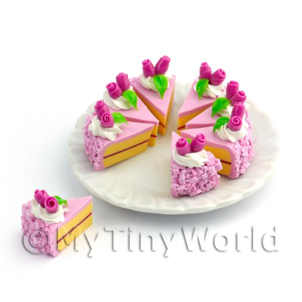 Dolls House Miniature Whole Sliced Dark Pink Iced Rose Cake