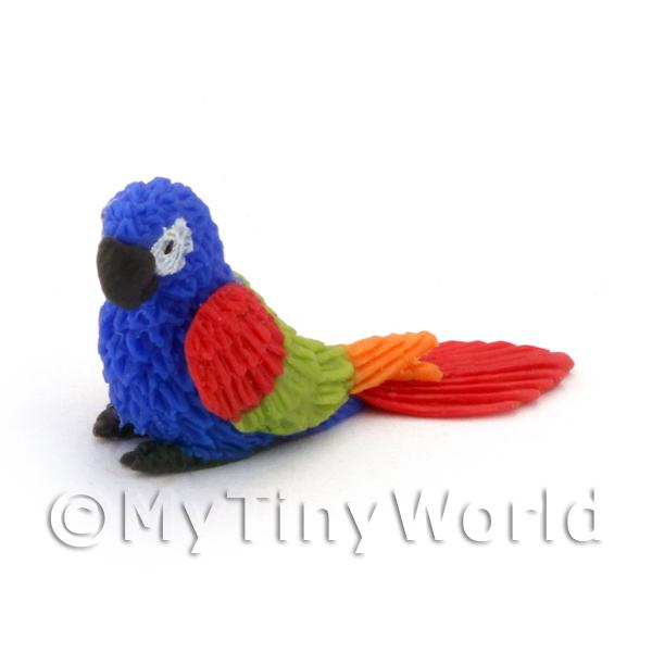 Blue Dolls House Miniature Baby Parrot With Multi-Coloured Wings and Red Tail