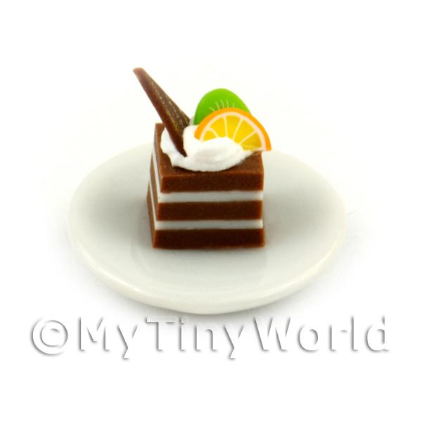 Miniature Square Chocolate Cake Slice Topped With Fruit