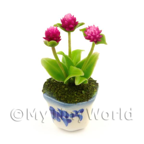 Dolls House Miniature  | Miniature Plant With 3 Beautiful Pink Flowers In A Blue Pattern Ceramic Pot