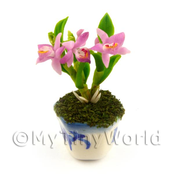 Dolls House Miniature  | Dolls House Miniature Light Purple Orchid In A Blue Pattern Ceramic Pot
