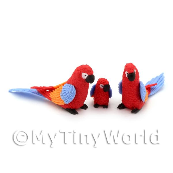 Dolls House Miniature  | 3 Red Dolls House Miniature Parrots With Multi-Coloured Wings and Blue Tails