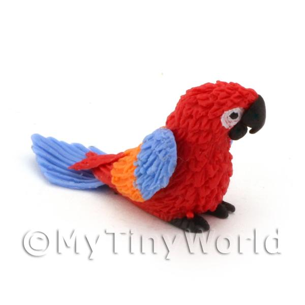 Dolls House Miniature  | Red Dolls House Miniature Baby Parrot With Multi-Coloured Wings and Blue Tail