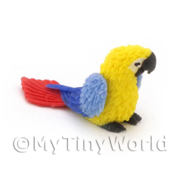 Dolls House Miniature  | Yellow Dolls House Miniature Baby Parrot With Blue Wings And Red Tail