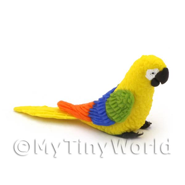 Yellow Dolls House Miniature Parrot with Multi-Coloured Wings