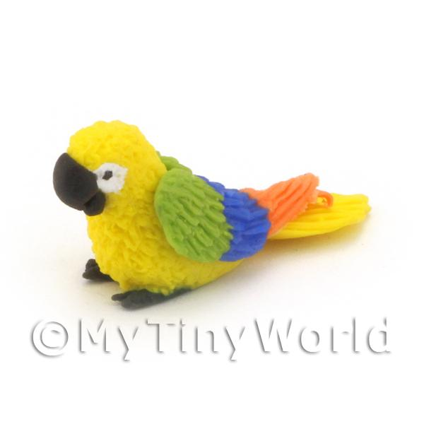 Yellow Dolls House Miniature Baby Parrot with Multi-Coloured Wings
