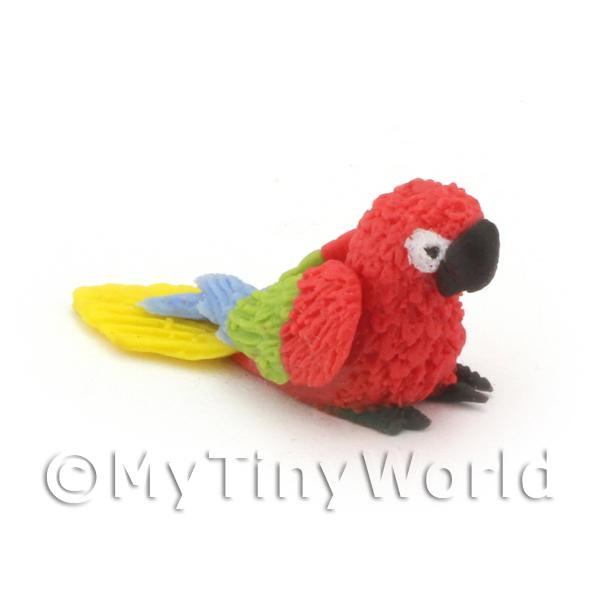 Dolls House Miniature  | Red Dolls House Miniature Baby Parrot With Multi-Coloured Wings