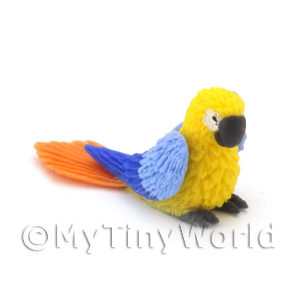 Dolls House Miniature  | Yellow Dolls House Miniature Baby Parrot With Blue Wings and Orange Tail