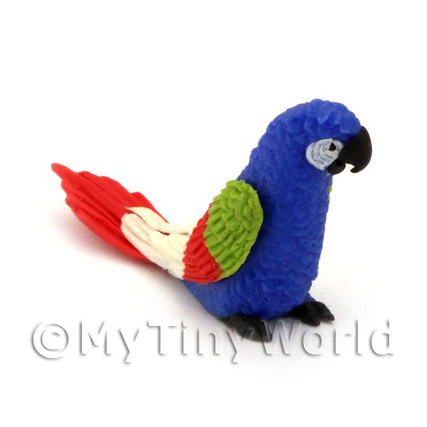 Dolls House Miniature  | Blue Dolls House Miniature Parrots with Multi-Coloured Wings and Red Tail