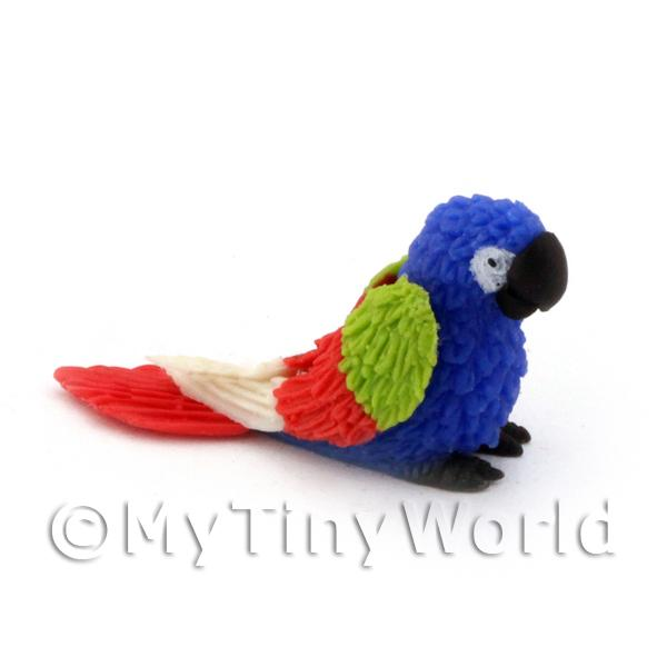 Dolls House Miniature  | Blue Dolls House Miniature Baby Parrot with Multi-Coloured Wings and Red Tail