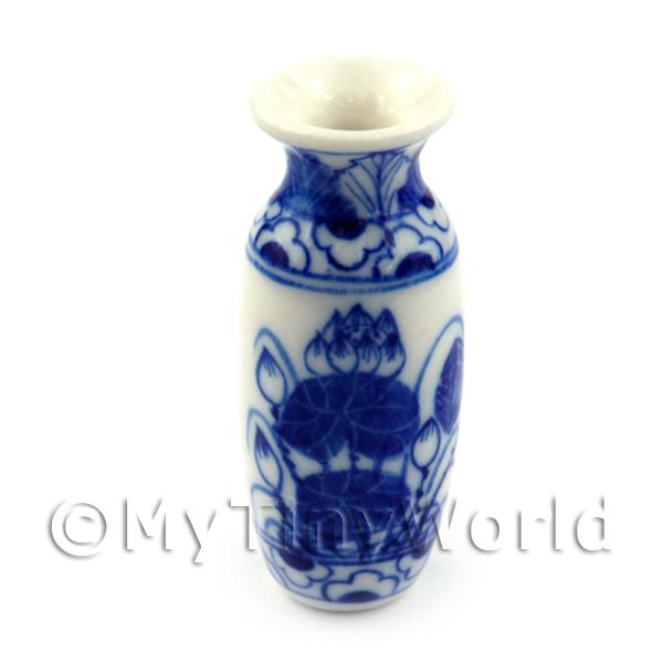 Dolls House Miniature Oval Narrow Neck Hand Painted Vase