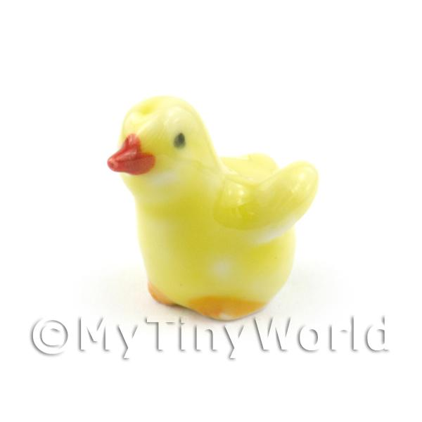 Dolls House mIniature Ceramic Yellow Chick Pose 1 Of 4