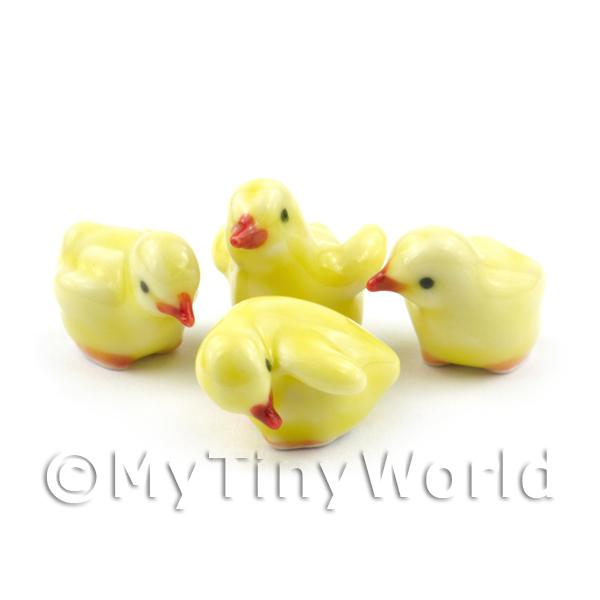 1/12 Scale Dolls House Miniatures  | Dolls House Miniature Set Of 4 Ceramic Yellow Chicks