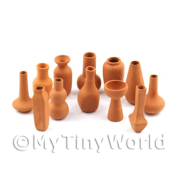 Dolls House Miniature Set Of 12 Very Fine Terracotta Vases