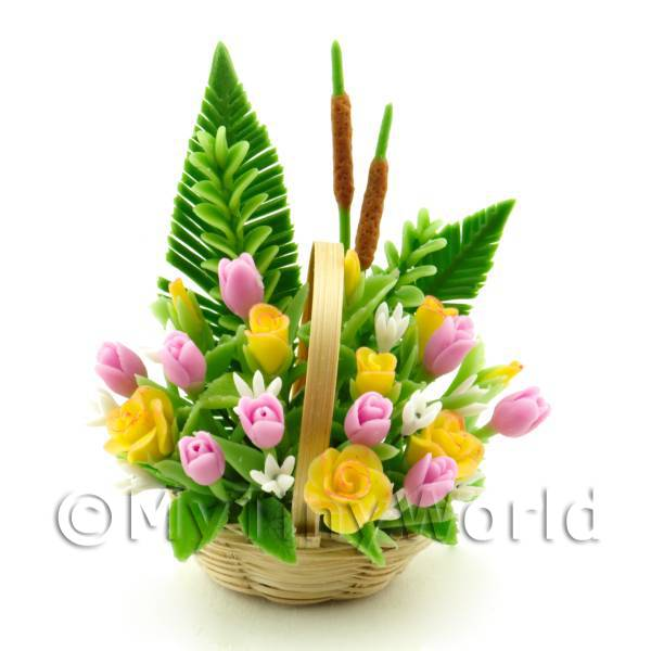 Dolls House Miniature Tulips   Yellow Roses Bouquet