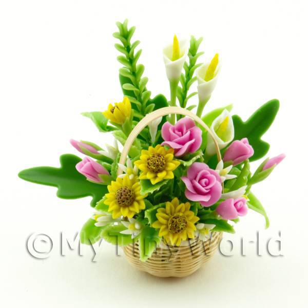 Dolls House Miniature Sun Flower lilly Roses Bouquet