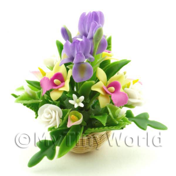 Dolls House Miniature Irises, Orchids   Rose Bouquet