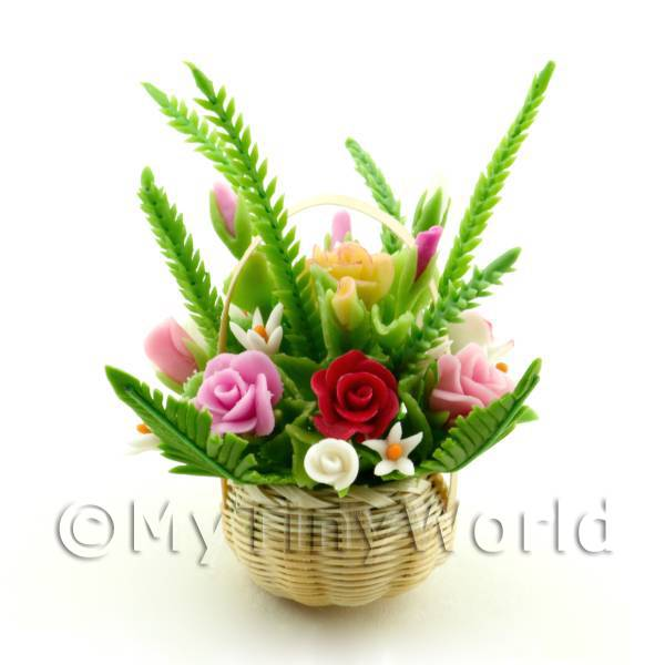 Dolls House Miniature Mixed Rose Bouquet