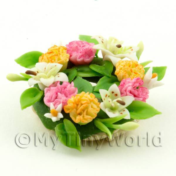 Dolls House Miniature Pink White and Yellow  Mixed Flower Wreath