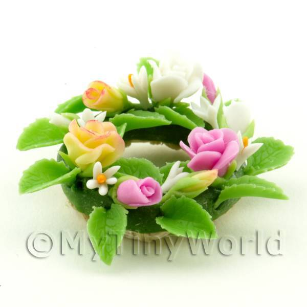 Dolls House Miniature Pink and Yellow Mixed Flower Wreath