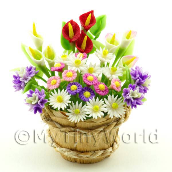 Dolls House Miniature Mixed Flowers in a Barrel