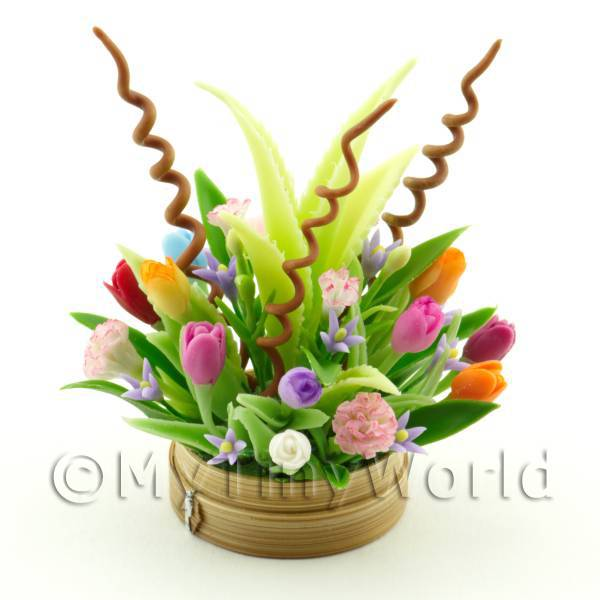 Dolls House Miniature Mixed Flowers in a Arrangement