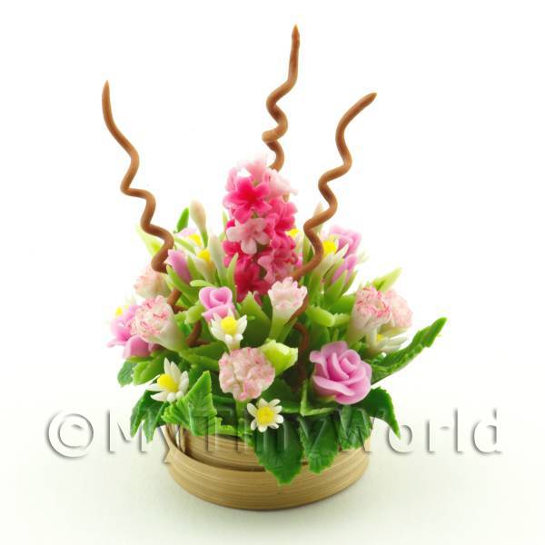 Dolls House Miniature Pink Flowers in an Arrangement