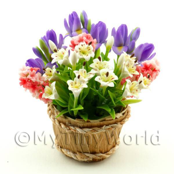 Dolls House Miniature Stargazer Lillies Arrangement