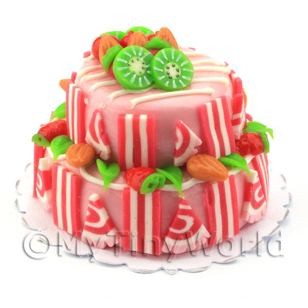 Dolls House Miniature Two Tier Candy Cake