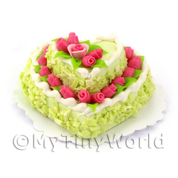 Dolls House Miniature Two Tier Green Heart Cake
